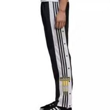 ADIDAS Originals side-breasted split sweatpants side open buckle trousers F-AA-XDD black