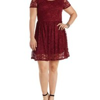Plus Size Burgundy Short Sleeve Lace Skater Dress by Charlotte Russe