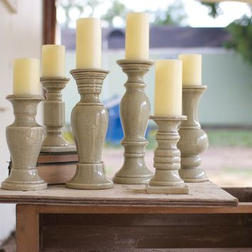 Set Of 6 Ceramic Candle Holders - Grey