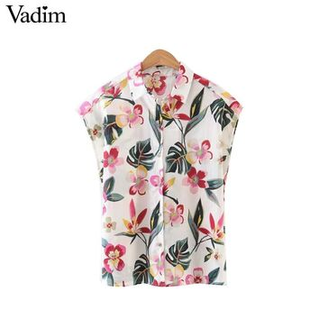 women sweet floral shirts sleeveless turn down collar blouses European style ladies summer casual brand tops blusas DT976