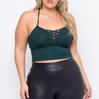 Plus Size Adele Crop Top - Green