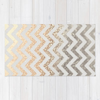 GATSBY GOLD & SILVER Area & Throw Rug by Monika Strigel | Society6