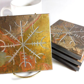 AEGISHJALMUR Stone Coasters - 4 Etched Slate Coasters - Ægishjálmr Helm Of Awe Norse Viking Asatru Art Decor Gift Beverage Drink Coaster Set