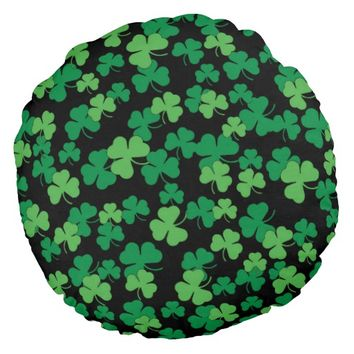 St. Patricks day clover pattern Round Pillow