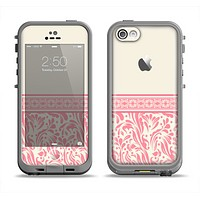 The Pink & Tan Polka Dot Pattern V1 Apple iPhone 5c LifeProof Fre Case Skin Set
