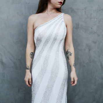 Beaded Silver and White Silk Evening Gown, New Years Eve Dress, One Shoulder, Jessica Rabbit, Plunging Back