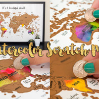 It's A Beautiful World Watercolor Scratch Map