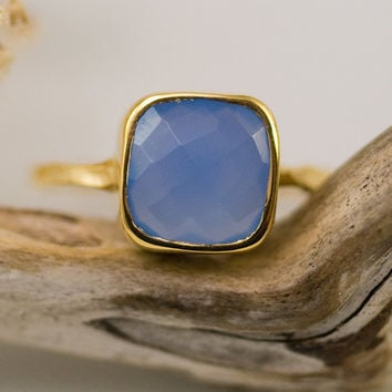 Cushion cut Deep Blue Chalcedony Ring - Gemstone Ring - Gold Ring - Bezel Set Ring -