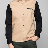 Native Youth Contrast-Sleeve Button-Down Shirt - Urban Outfitters