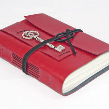 Red Faux Leather Journal with Key Bookmark