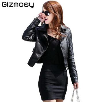 Vintage PU Leather Jacket Women Slim Biker Motorcycle Soft Outwear Faux Leather Zipper Spring Ladies Coats Plus Size BN122-1