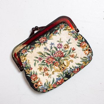 Vintage 1960s Needlepoint Clutch Bag - Small Floral Tapestry Purse