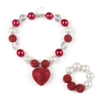 Red & White Chunky Bead Necklace + Bracelet Set