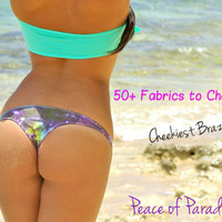 A Kaimana Reversible Sexy Cheeky Brazilian Bikini Bottoms (50+ Fabric Choices) Hand Made by Peace of Paradise Creations
