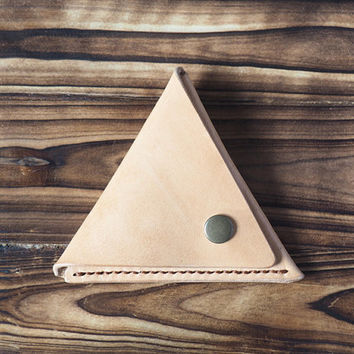 Leather Coin Pouch - triangle coin purse handmade, Coin Case, Coin Wallet, Minimalist wallet, chain wallet, personalized # Natural Nude