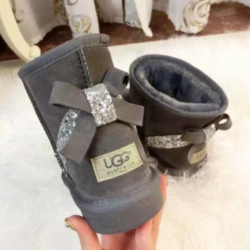 UGG:: bow leather boots boots in tube bow knot shining boots Grey