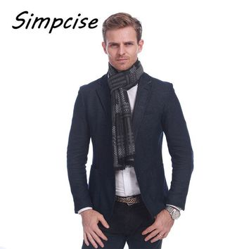 [Simpcise] New fashion Design Casual Style scarves Winter Men Plaid Scarf luxury Brand extra Warm Neckercheif A3A18894