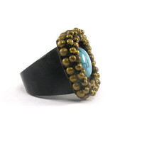 Turquoise and Brass with Wooden Ring, Wood Ring size 10