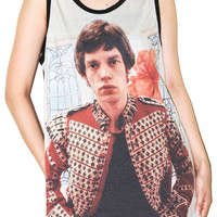 Mick Jagger Black Singlet Women Top Clothing Tank Top Photo Transfer  Sleeveless Art Indie Rock T-Shirt Size L