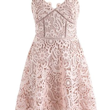 Flourish Like Flowers Crochet Cami Dress in Nude Pink