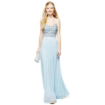 Love Reigns Spaghetti Strap Beaded-Bodice X-Back Long Dress