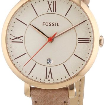 Fossil Jacqueline White Dial Camel Leather Strap ES3487 Women's Watch