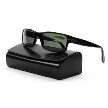 Persol PO2747S 95/48 Sunglasses Black with Green Polarized Lenses 57mm