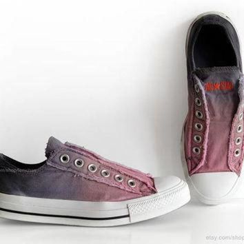 LMFUG7 Ombr¨¦ dip dye Converse, blossom pink, blue grey, slip-on sneakers, tie dye, transforme