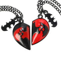 DC Comics Harley Quinn Heart Best Friends Necklace Set