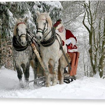 Santa Sleigh With Horses - Canvas Print