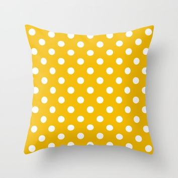 Yellow Polka Dots Throw Pillow by Kendall Lynnette