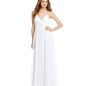 Calvin Klein Grecian Draped Maxi Dress - White