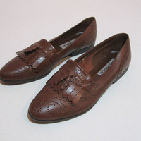 Vintage Brown Leather Kiltie Loafers Size 10 Womens Shoes