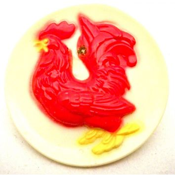 Vintage Plastic Red Rooster Pin 1950s