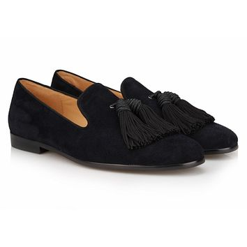 Black Big Tassel Velvet Loafers