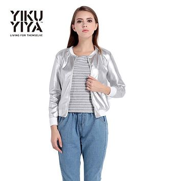 YIKUYIYA New Fashion Spring Coat 2017 Women Zipper Streetwear Long Sleeve O-Neck Basic Shine Sliver Slim Casual Bomber Jacket
