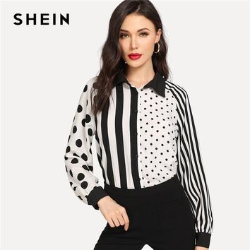 SHEIN Black And White Office Lady Elegant Two Tone Striped And Dot Mixed Print Shirt Autumn Minimalist Women Tops And Blouses