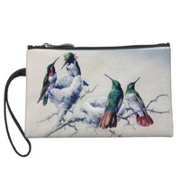 Vintage Hummingbirds on Nest Wristlet Bag
