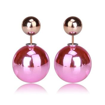 Gum Tee Mise en Style Tribal Earrings - Metallic Baby Pink and Gold