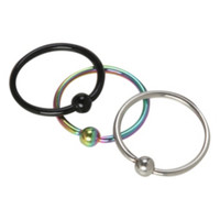 20G Steel Rainbow Black Nose Hoop 3 Pack