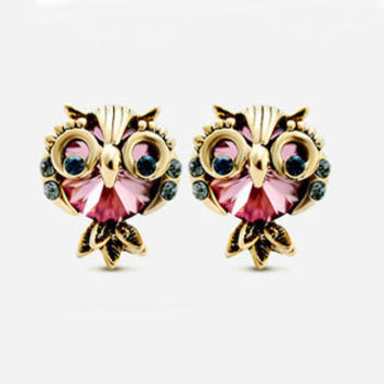 Big Eye Owl Rhinestone Earrings - LilyFair Jewelry