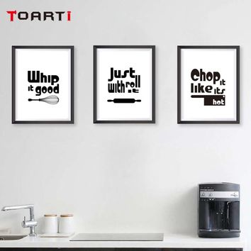 Modern Black White kitchen Quotes A4 Posters Nordic Kitchen Living Room Wall Art Picture Home Decor Canvas Painting