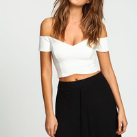 Ivory Off Shoulder Sweetheart Crop Top
