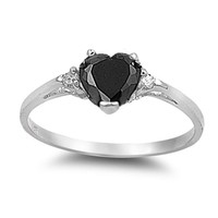Choose Color 1CT Heart Love Rhodium Sterling Silver Promise Ring Rose Gold Simulated Opal