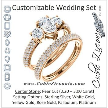 CZ Wedding Set, featuring The Zuleyma engagement ring (Customizable Enhanced 3-stone Pear Cut Design with Triple Pavé Band)