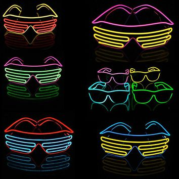 2017 Blue el glasses El Wire Fashion Neon LED Light Up Shutter Shaped Glow Sun Glasses Rave Costume Party DJ Bright SunGlasses