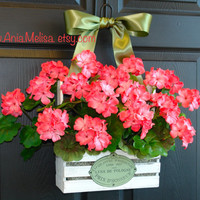 spring wreath summer wreath front door wreaths coral geranium wreaths for front door wreaths welcome  gift ideas