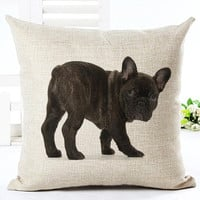 Fashion Animal Style Cotton Linen Cute Dog Printed Fundas Sofa Bed Cushion Decorative Throw Pillow Almofadas Cojines