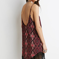 Tribal Print Fringe Cami Dress