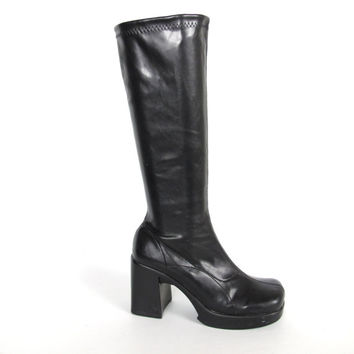 90s Goth Black Pleather Platform Chunky Heel Knee High Boots (6.5)